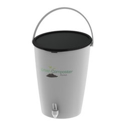 Urban Composter - The Urban Composter is not just a container for waste en-route to the compost heap - it's a functioning composter in one small, sleek package. The Urban Composter starts the composting process right in your kitchen and replaces unsightly plastic bins or the need to grind or flush organic scraps down the drain. Instead, toss unwanted peels and leftover scraps into this bin to produce nutrient-rich fertilizer for your garden. Instead of granular mixes, a composting spray is added that uses microorganisms to break down food waste. Simply add your scraps, give them a spray, and let the fermenting process begin. In just a few days, you'll have 100% organic fertilizer from the tap. Dilute this liquid and add it to your plants, then watch them thrive. Once the bucket is full remaining liquid can be drained and the food residue can be dug into some soil and left to settle for 5-7 weeks. Then compost is ready to spread on the garden or your lawn.The Urban Composter has a sleek design and comes with a choice of lid colors. It's attractive enough to have in your kitchen to encourage and remind everyone at home to keep composting. It uses an anaerobic composting process so the food you put into the bucket doesn't produce a foul-smelling odor, and a seal on the bucket ensures a tight fit for no smells, spills, or flies.
