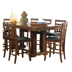 Homelegance - Homelegance Kirtland 7-Piece Counter Dining Room Set in Warm Oak - For your casual dining space, the Kirtland collection provides ample seating for your family and friends. Bench seating features button-tufted dark brown bi-cast vinyl. The horizontal and vertical slat supports form each chair back. The entire collection is highlighted by the Warm oak finish on oak veneers. The routed design on the table top carries over to the matching server. Counter height table options include classic leg table and oversize pillar-legged table. Also available in traditional dining height.