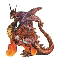 GSC - Red and Gold Dragon Standing on Orange Flames Fantasy Figurine - This gorgeous Red and Gold Dragon Standing on Orange Flames Fantasy Figurine has the finest details and highest quality you will find anywhere! Red and Gold Dragon Standing on Orange Flames Fantasy Figurine is truly remarkable.