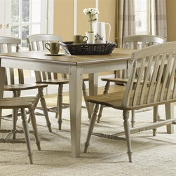 Liberty Furniture - Al Fresco 5 Pc Dining Set - Include rectangular table and four side chairs. Bench sold separately. Planked top treatments. Antique pewter metal inserts. One 18 in. butterfly leaf. Wood mullions. Driftwood top with plank styling. Nylon chair glides. French and English dovetail construction. Warranty: One year. Made from rubber wood solids and pin knotty oak veneers. Driftwood and taupe finish. Made in Malaysia. Side chair: 21 in. W x 21 in. D x 34 in. H (15 lbs.). Table minimum: 74 in. L x 40 in. W x 30 in. H (112 lbs.). Table maximum: 92 in. L x 40 in. W x 30 in. H (112 lbs.)