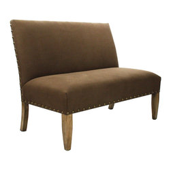 Kathy Kuo Home - French Country Cottage Brown Suede Banquette Dining Settee - High contrast meets high style in the lines of this tack upholstered, skirted chair.  Combining classic lines with a fresh contemporary attitude and contrasting linen, this piece would fit beautifully into contemporary rustic settings as easily as it would in traditional or French country homes.