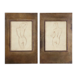 Uttermost - Bronze Figures Art, Set of 2 - Figuratively speaking. Stunning in their simplicity, these artful sketches highlight the female form. Each is set behind glass and finished with an oxidized bronze frame for a classic touch that will feel right at home in your traditional living room or den.