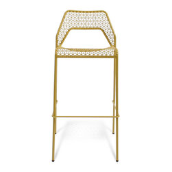 Blu Dot - Blu Dot Hot Mesh Barstool, Natural Yellow - Chipper stool seeks derrieres for at home enjoyment or cafe canoodling. Available in six finishes: black, green, humble red, natural yellow, simple blue and off-white. Stackable and suitable for use indoors or out. Also available as a chair or counterstool.Powder-coated steel