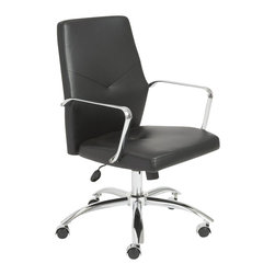 Eurostyle - Eurostyle Napoleon Low Back Office Chair in Black and Chrome - Eurostyle - Office Chairs - 01292BLK - Napoleon said 'an army marches on its stomach' citing the strength of good nutrition in the field of battle. In an office, we say 'the army works on very comfortable chairs'. Napoleon office chairs, high back and low. Arm your staff with these bold and sturdy chairs and discover how comfort conquers all.