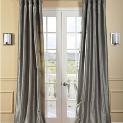 Half Price Drapes - Platinum Faux Silk Taffeta Single Panel Curtain, 50 X 84 - - Defined by a unique sheen and fine weave, our exclusive faux silk taffeta curtain panels are gorgeous and timeless. They have a crisp smooth finish in brilliant shimmering colors. Color is a medium silver grey.   - Single Panel   - 3 Rod Pocket   - Corner Weighted Hem   - Pole Pocket with Back Tab & Hook Belt Attached. Can be hung using rings. (Not Included)   - Dry clean   - Taffeta 53% Polyester & 47% Nylon   - Lined with a cotton blend material  - 50x84   - Imported   - Grey Half Price Drapes - PTCH-JTSP112-84