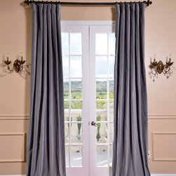 EFF - Chinchilla Grey Vintage Cotton Velvet Curtain - Bring elegant style to any room in your home with this lovely gray velvet curtain panel from EFF. Made from 100 percent cotton velvet,this curtain measures 50 inches wide and comes in a wide variety of lengths to suit your home decor needs.