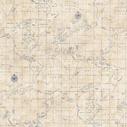 allen + roth Blue Grid Map Wallpaper - This wonderful wallpaper has a fun coastal feel, incorporating a traditional and antique feel with its blue lines and cartographer's grid.