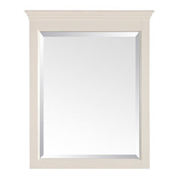 """Lamps Plus - Country - Cottage Tropica Antique White 32"""" High Tall Wall Mirror - Complete a bathroom sink area or dress up an entryway with this gorgeous wall mirror. The Tropica mirror is crafted with solid birch wood and presented in an antique white distressed finish. Features a large beveled mirror pane. With a wood cleat on the back for easy hanging. Solid birch construction. Beveled mirror pane. Antique white distressed finish. Mirror glass only is 26 1/2"""" high 17 1/2"""" wide. 32"""" high. 24"""" wide. 2"""" deep. Hang weight of 23 lbs.  Solid birch construction.   Beveled mirror pane.   Antique white distressed finish.   Mirror glass only is 26 1/2"""" high 17 1/2"""" wide.   32"""" high.   24"""" wide.   2"""" deep.   Hang weight of 23 lbs."""