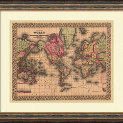 Amanti Art - Ward Maps 'Map of the World, 1867' Framed Art Print 22 x 18-inch - 'The world is a book, and those who do not travel read only a page.' Saint Augustine.  Fuel your wanderlust with this vintage Map of the World, 1867 from Ward Maps.