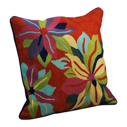 Modelli Creations - Crewel Work Pillow With Poinsettia Design, Red - Made in India. Cotton/polyfill. Dry clean only.