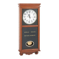"Renovators Supply - Clocks Wood Battery Operated Pendulum Clock | 19808 - These clocks need no winding. This stately looking clock just looks old! Wood cabinet- wall mount- battery operated. 23 1/2"" high x 9 7/8"" wide x 3 1/2"" deep."