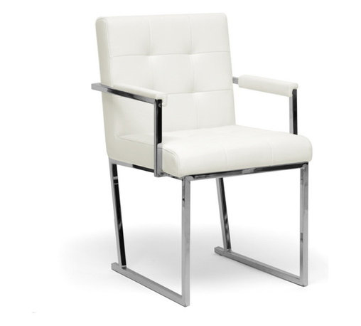 Baxton Studio - Baxton Studio Collins Ivory Mid-Century Modern Accent Chair - Though the years have passed, the innovative style of the mid-1900s still pervades our culture, as is evident in the design of our Collins Accent chair's mid-century club chair is made with a chrome-plated steel frame, an iconic material for furniture construction during that time.  An ivory bonded leather seat and armrests are padded with foam cushioning.  Made in China; fully assembled.  To clean, wipe with a dry cloth.  This style is also offered in black (sold separately). Dimensions: 33.9 inches high x 21.125 inches wide x 22.9 inches deepSeat cushion: 19.44 inches high