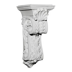 """Ekena Millwork - 7 7/8""""W x 8 3/4""""D x 18 1/4""""H Scroll Leaf Corbel - 7 7/8""""W x 8 3/4""""D x 18 1/4""""H Scroll Leaf Corbel. These corbels are truly unique in design and function. Primarily used in decorative applications urethane corbels can make a dramatic difference in kitchens, bathrooms, entryways, fireplace surrounds, and more. This material is also perfect for exterior applications. It will not rot or crack, and is impervious to insect manifestations. It comes to you factory primed and ready for your paint, faux finish, gel stain, marbleizing and more. With these corbels, you are only limited by your imagination."""