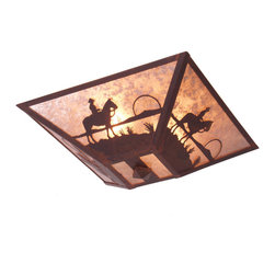 Steel Partners Inc - Drop Ceiling Mount - COWBOY SUNSET - Every piece we create is unique — handcrafted at our factory in Chehalis, Washington, USA. Due to this, lead times are 2 to 4 weeks.