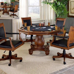 Hillsdale - Kingston 5 Pc 2-in-1 Pedestal Poker Dining Ta - Set up an evening of fun and games at the five-piece Kingston game set. Features four leather upholstered chairs that are castered for plenty of action. Table is well-crafted and sturdily constructed with decorative pronged base and massive madras column. * Includes 2-in-1 table & 4 square chairs. Light Cherry finished wood. Black leather and felt top. Nail-head trim. Leather upholstered & castered chairs. Well-crafted and sturdily constructed. Decorative pronged table base and massive madras column. Table: 56.25 in. L x 14.25 in. W x 32.75 in. H. Chairs: 25.5 in. W x 25.25 in. D x 39.5 in. HThe Kingston game set and barstool are a distinguished addition to any home. The light Cherry finished wood, Black leather and felt, and nail-head trim give this grouping a stately presence. Its true grandness can be found in the ornate details on the tables base and felt. Not only is this set handsome but it is practical also, with a reversible table top, casters on the chairs, and the stool swivels 360 degrees.