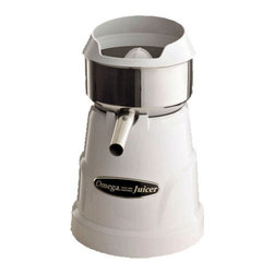 OMEGA PRODUCTS INC. - Omega Professional Citrus Juicer,White, 150 RPM Speed - Omega Professional Citrus Juicer ensures complete extraction of all sizes of citrus fruits such as squeeze fresh orange, grapefruit, lemon and lime juice. Commercially rated, this machine is engineered for continuous juicing, efficiency, and power. This pulp ejection juicer is simple to assemble and dissemble.