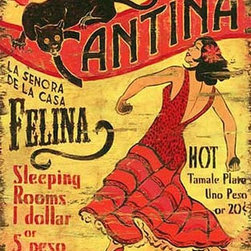 Red Horse Signs - Vintage Signs El Gato Large Retro Mexican Cantina Sign - Personalize  this  vintage  cantina  sign  with  a  woman's  name  of  your  choice  for  a  unique  addition  to  rec  room  or  patio.  The  brightly  colored  design  is  printed  directly  to  distressed  wood  for  a  worn  weathered  look.  Sign  measures  20  x  32  and  is  sure  to  delight  guest  as  they  enjoy  the  spicey  flavor  of  your  decor!