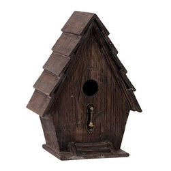 "Benzara - Charming and Magnificent Wooden Bird House with Metal Bird Stand Attached - Charming and cozy, the Charming and Magnificent Wooden Bird House with Metal Bird Stand Attached has a traditional feel and look to it and will be perfect for your garden or lawn. Place this charming bird house in your exterior settings and watch as birds descend to raise their young right in your background. Sporting a lovely coffee brown color, the bird house is made from quality wood with arched roofs and two door entrances. The dimensions of the Charming and Magnificent Wooden Bird House with Metal Bird Stand Attached are 9.5""x7""x13.25""H. Wood; Coffee brown; 9.5""x7""x13.25""H; Dimensions: 10""L x 7""W x 13""H"
