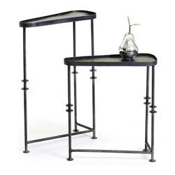 Set of Two Asymetrical Tables - The asymmetrical tables from the French country furniture collection come in the set of two. The iron make and blackened finish is the key feature of these innovatively designed tables.