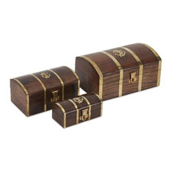 "IMAX - Nautical Wood Boxes - Set of 3 - With the appearance of mystical treasure chests, this set of three nautical boxes have brass accents and are a great place to store small items. Item Dimensions: (4-5.5-7""h x 2-3-4.5""w x 1.75-2.75-3.5)"