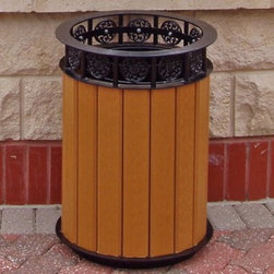 Jayhawk Plastics Jamestown Receptacle - Trash cans don't have to interrupt the beauty of a landscape. In fact, the Jayhawk Plastics Jamestown Receptacle will enhance your park, courtyard, or business entrance with its decorative circles and upscale design. This maintenance-free waste receptacle is constructed with a black powder-coated steel structure and durable 100% recycled plastic slats that look like wood. Heavy-duty, zinc-coated hardware holds the seventeen 1- x 4-inch slats to the inner structure, creating a long-lasting container for outdoor use. This 20-gallon receptacle is available in a variety of stylish colors to complement any outdoor setting. Ships fully assembled. Liner is included.About Jayhawk Plastics, Inc.Since 1973, Jayhawk Plastics, Inc., has been producing quality plastic furnishings at reasonable prices. Their commitment to superior customer service and quality products has helped Jayhawk become an industry leader. All of Jayhawk's benches and outdoor plastic products are made from 100% recycled plastic. This material gives you the best of both worlds: products made entirely of recycled plastic that also have the beauty of natural wood. Jayhawk's benches, tables, receptacles, and other products are maintenance-free, vandal-resistant, and environmentally friendly. Because they're made of milk jugs, pop bottles, and many other forms of post-consumer and post-industrial waste, these products save trees and reduce landfill usage. Jayhawk's recycled plastic does not need to be sealed, painted, or stained, and cannot rot. Paint will not bond to the surface, and pen and marker can be washed off easily with household cleaning solvents. Jayhawk benches are designed to last many years in the outdoor elements in both residential and commercial applications.