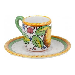 Ceramic - Umbria - Italian Fruit Espresso Cup with Saucer - Umbria - Italian Fruit Espresso Cup with Saucer