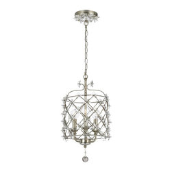 """3 Light 10"""" Pendant with Clear Glass Star - The handpainted Antique Silver cage adds drama to this pendant. Coupled with the Star shaped hand polished crystal accents, this whimsical collection is the designer's choice for fashion forward settings."""