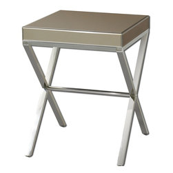 Uttermost - Uttermost Lexia Modern Side Table - Bronze mirror faceted on all sides with a stainless steel base.