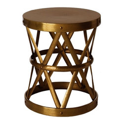 Arteriors - Costello Side Table - Industrial élan meets shimmery elegance in this versatile accent piece. Use it as a side table or stool — its iron construction is durable enough to take on any task, and the variety of finishes will fit any setting.