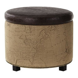 Home Decorators Collection - Chambers Round Shoe Ottoman - Our Chambers Round Shoe Ottoman comes with special dividers that help keep your shoes out of sight but easily accessible. Available in your choice of upholstery, this ottoman features a lift-off tufted top. Tufted top. Removable shoe dividers. Your choice of upholstery. Bonded leather option includes nailhead trim.