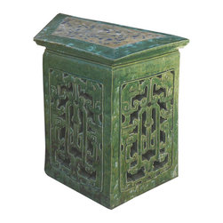 Golden Lotus - Chinese Green Clay Ru Yi Trapezoid Pedestal Table Garden Stand - This is a unique hand made clay / ceramic material pedestal table. It has open oriental Ru-Yi scroll pattern at the front. It is glazed with natural green color. Its material make it good for both outdoor and indoor. Especially, its back has Chinese coin design on it.
