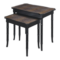 Sterling Lighting - Sterling Lighting Bailey Street Boa Nesting Table - Set of two twenties style tables with faux bamboo legs and top inserts of faux snakeskin.  Ebony finished hardwood and a copper wash over the table top that accentuates the snakeskin pattern inserts.
