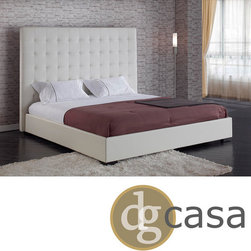 DG Casa - DG Casa Delano White Queen Platform Bed - Luxurious leather and exciting modern design highlight this Delano queen-size platform bed. This bed features a sleek white color with tufting detail on the headboard for added interest.