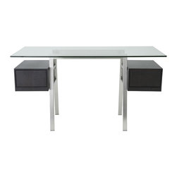 Eurø Style - Collette Brushed Stainless Steel Desk with Wenge Drawers - Features: