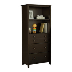 South Shore - South Shore Little Smiley Transitional Style Chest in Espresso - South Shore - Chests - 3759022 - This Little Smiley storage chest in espresso finish will add a traditional touch to your baby's room with its decorative groove on the upper drawer its recessed sides and wooden knobs in Chocolate finish. It features two large open storage spaces divided by an adjustable shelf and 3 practical drawers equipped with metal slides. The dimensions of the entire open spaces are 22-3/4-inch wide by 17-inch deep by 25-inch high. The drawers dimensions are 20-3/4-inch wide by 13-3/4-inch front to back by 5-1/4-inch high. New and improved drawer bottoms made with wood fibers. It is also available in White and Harvest Maple finish. Accessories not included. Manufactured from certified Environmentally Preferred laminated particle panels. Complete assembly required by 2 adults. Tools are not included.  5-Year limited warranty.