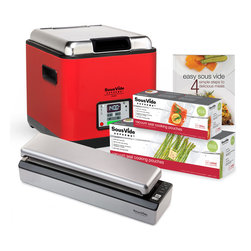 SousVide Supreme - SousVide Supreme Demi Water Oven Promo Pack - Red - The SousVide Supreme Demi Promo Pack is a great starter package with everything you need to cook sous vide with ease and convenience in your own home. This package includes a SousVide Supreme Demi water oven, a SousVide Supreme Vacuum Sealer (includes 10 bags), 2 boxes of vacuum pouches, and the Easy Sous Vide cookbook. FREE SHIPPING within the mainland US.
