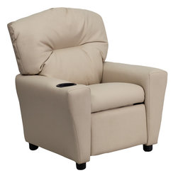 Flash Furniture - Contemporary Beige Vinyl Kids Recliner with Cup Holder - Kids will now be able to enjoy the comfort that adults experience with a comfortable recliner that was made just for them! This chair features a strong wood frame with soft foam and then enveloped in durable microfiber upholstery for your active child. Choose from an array of colors that will best suit your child's personality or bedroom. This petite sized recliner will not disappoint with the added cup holder feature in the armrest that is sure to make your child feel like a big kid!