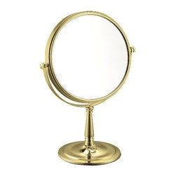 Nameek's - 3x Stainless Steel Double Face Makeup Mirror, Gold - With an Italian design and a contemporary style, this makeup mirror is suitable for most modern bathroom settings.