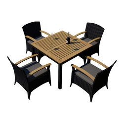 Harmonia Living - Arbor 5 Piece Outdoor Modern Arm Chair Dining Set, Charcoal Cushions - The Harmonia Living Arbor 5 Piece Modern Patio Dining Set with Gray Sunbrella cushions (SKU HL-AR-5ADN-CC) combines a stylish, modern design with the natural beauty of teak, creating a patio dining set you will enjoy for years. Its teak tabletop has been kiln-dried, removing excess moisture to ensure it will not crack or warp. The set is constructed with durable, thick-gauged aluminum frames, which are protected by a powder coating for superior corrosion resistance. The resin wicker is made of High-Density Polyethylene (HDPE), with its coffee bean color and UV resistance infused into each strand. This creates a rich wicker color that holds up incredibly well with age. Likewise, the Sunbrell seat cushions provide rich, long-lasting color, and create a comfortable dining experience in your modern patio.