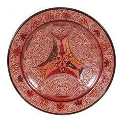 "Ceramic (Wood-fired) - Rose Carved Decorative Plate, 14"" - Rose Carved 14"" Decorative Plate"