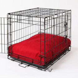 Crate Covers & More - Rectangular Dog Bed & Bed Cover - Simply Red Multicolor - RECREDDOG22 - Shop for Accessories and Parts from Hayneedle.com! The Rectangular Dog Bed & Bed Cover - Simply Red includes a soft cushiony dog bed and handsome bright red cover. The polyfill bed is waterproof hypo-allergenic and washable: hand-wash and allow to air dry. The cover is made of soft bright red 200 denier nylon that simply unzips to be tossed into the washing machine. The dog bed is available in several sizes to fit your dog crate (dog crate not included). Sizes: (each size includes white pillow bed and removable bed cover in Simply Red) X-Small: Fits crates 14W x 22D inches Small: Fits crates 21W x 25D inches Medium: Fits crates 21W x 30D inches Large: Fits crates 24W x 36D inches X-Large: Fits crates 28W x 42D inches XX-Large: Fits crates 30W x 48D inches About Crate Covers and MoreCrate Covers and More provides stylish dog crate covers dog bed covers and sofa covers. These covers allow dog owners to make their dog more comfortable while enhancing their home decor. Dogs feel safe and protected when their kennel or crate is covered which means they won't bark. When your dog's crate is covered you get to enjoy your pup as well as your choice of a wide variety of contemporary color and pattern options. Dog trainers recommend Crate Covers and More items because they make kennel training easier. All Crate Covers and More covers are made of high quality fabrics in America.