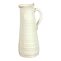 Summerland Ceramic Pitcher - Its appearance suggests the artisanal beauty of hand thrown pottery crafted in the picturesque hamlets of Vermont. Ample in size, the Summerland Ceramic Pitcher is fashioned from ceramic with fresh cream coloration. The gentle asymmetry of the rim and pouring spout complement the handmade aesthetic of the piece. A refreshing addition to a kitchen sideboard, a dining room farm table, or the serveware displayed in a breakfast alcove.