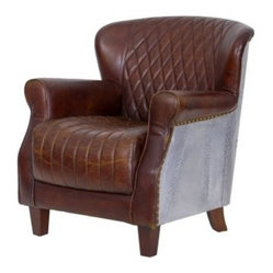 Metal-Plated Leather Armchair