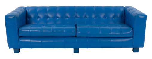 Thayer Coggin - Consigned Milo Baughman for Thayer Coggin, Aqua Blue Sofa - This sensational circa 1970 Milo Baughman sofa takes advantage of color, turning what some would consider a classic shape, into a mid century modern masterpiece. Finished in breathtaking deep aqua blue naugahyde upholstery, the sofa is extremely comfortable and luxurious, featuring thick foam cushions and upholstered square feet. The striking aqua blue color is bold, playful, and peaceful, which is a design element that sets this sofa apart from all others. Sofa is in the original upholstery and is in wonderful condition.