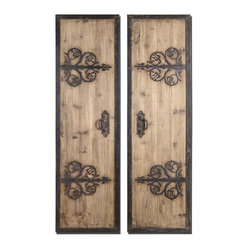 Uttermost - Abelardo Rustic Wood Panels Set/2 - Rustic refinement for your wall. The wrought iron detailing on this pair of oversized wood wall panels transforms them from ordinary to extraordinary.