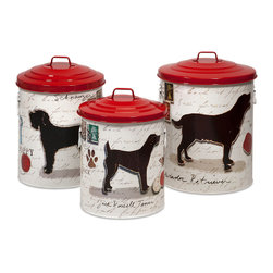 Dog Food Storage Canisters w/Dog Images Red lids - Set of 3 - *Keep your dog treats fresh with these trendy dog food storage containers.