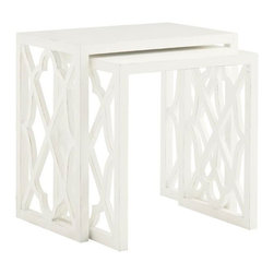 Lexington - Tommy Bahama Home Ivory Key Stovell Ferry Nesting Tables - Liven up your living room with a vibrant Somers Isle white Stovell Ferry Nesting Table set. The rectangular tables feature a unique quatrefoil diamond open lattice shaped sides drawing the eye with fail. For more table surface, the two tables can be used separately and pulled up to different seating areas-- perfect for entertaining! The combination of exotic shapes with the simplisticity of the crisp white finish is enough to bring the feel of the island oasis to your home.