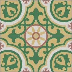 Granada Tile - Tile Sample Copenhagen 889 A - Ornate but not busy, Granada Tile's Copenhagen cement tile design holds its own  ballrooms and bathrooms.