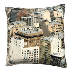 Custom Photo Factory - Aerial view of Los Angeles, California   Polyester Velour Throw Pillow - Aerial view of Los Angeles, California  18 x 18 Inches  Made in Los Angeles, CA, Set includes: One (1) pillow. Pattern: Full color dye sublimation art print. Cover closure: Concealed zipper. Cover materials: 100-percent polyester velour. Fill materials: Non-allergenic 100-percent polyester. Pillow shape: Square. Dimensions: 18.45 inches wide x 18.45 inches long. Care instructions: Machine washable