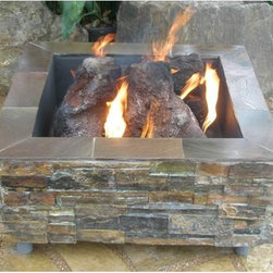 Virginian Square Fire Pit - So many people spend a lot of time and money putting in beautiful stacked stone and slate landscaping. If you're one of them, this firepit will fit right in with your outdoor design. The square design also makes it different from the humdrum round pits you usually find.